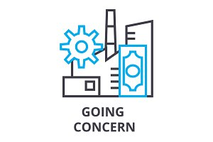 going concern thin line icon, sign, symbol, illustation, linear concept, vector