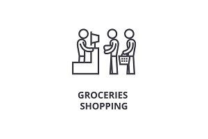 groceries shopping thin line icon, sign, symbol, illustation, linear concept, vector