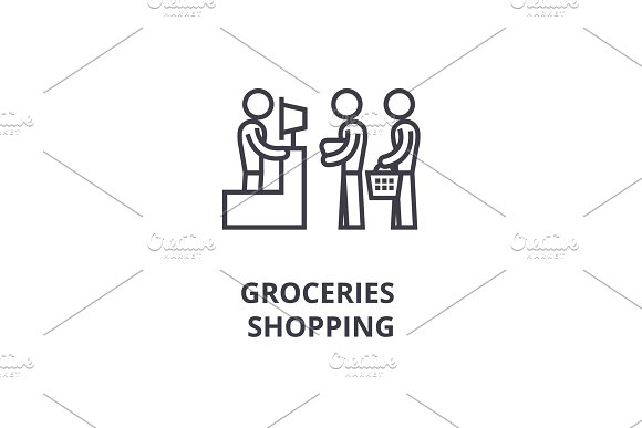 Groceries Shopping Thin Line Icon Sign Symbol Illustation Linear Concept Vector