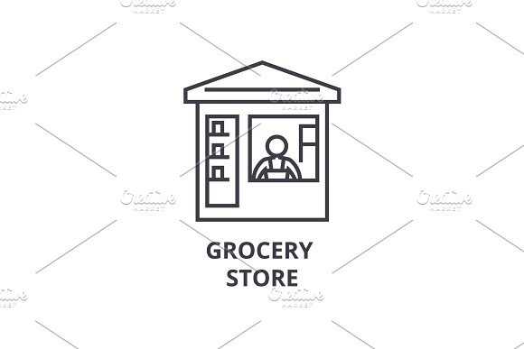 grocery store  thin line icon, sign, symbol, illustation, linear concept, vector