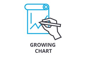 growing chart thin line icon, sign, symbol, illustation, linear concept, vector