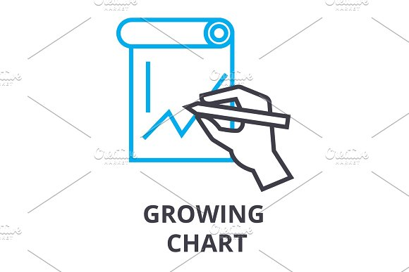 Growing Chart Thin Line Icon Sign Symbol Illustation Linear Concept Vector