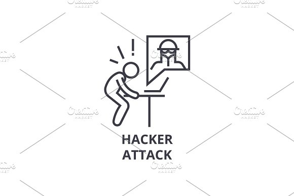 Hacker Attack Thin Line Icon Sign Symbol Illustation Linear Concept Vector
