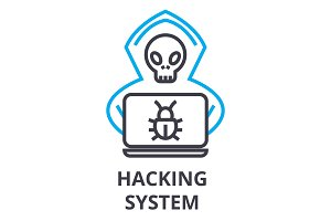 hacking system thin line icon, sign, symbol, illustation, linear concept, vector
