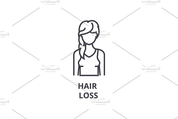 Hair Loss Thin Line Icon Sign Symbol Illustation Linear Concept Vector