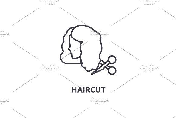 Haircut Thin Line Icon Sign Symbol Illustation Linear Concept Vector