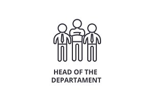 head of the departament thin line icon, sign, symbol, illustation, linear concept, vector