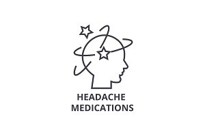 headache medications thin line icon, sign, symbol, illustation, linear concept, vector