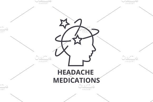 headache medications thin line icon, sign, symbol, illustation, linear concept, vector