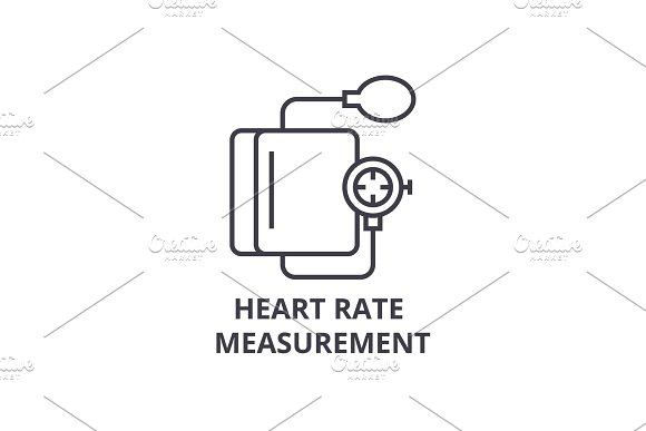 heart rate measurement thin line icon, sign, symbol, illustation, linear concept, vector