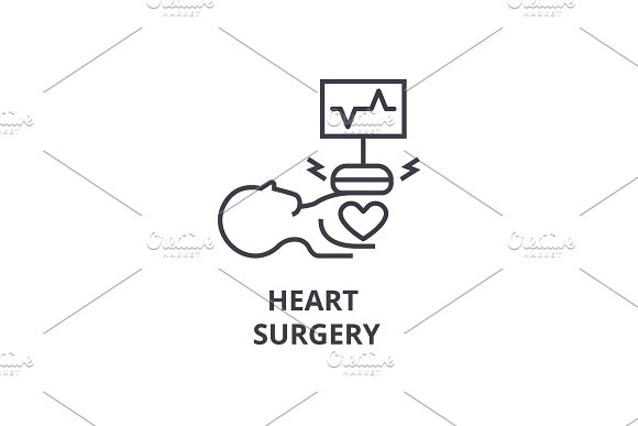 heart surgery thin line icon, sign, symbol, illustation, linear concept, vector  in Objects