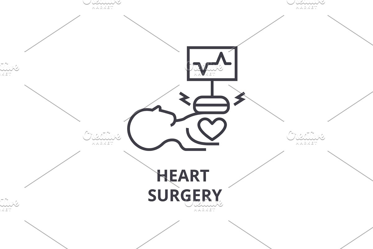 heart surgery thin line icon, sign, symbol, illustation, linear concept, vector  in Objects - product preview 8
