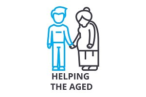 helping the aged thin line icon, sign, symbol, illustation, linear concept, vector