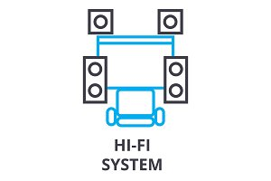 hi fi system thin line icon, sign, symbol, illustation, linear concept, vector