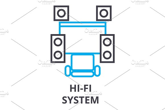 Hi Fi System Thin Line Icon Sign Symbol Illustation Linear Concept Vector