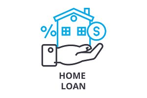 home loan thin line icon, sign, symbol, illustation, linear concept, vector