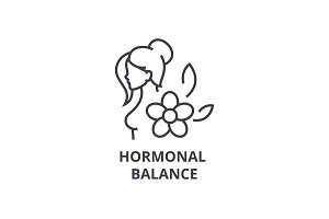 hormonal balance thin line icon, sign, symbol, illustation, linear concept, vector