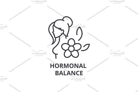 Hormonal Balance Thin Line Icon Sign Symbol Illustation Linear Concept Vector