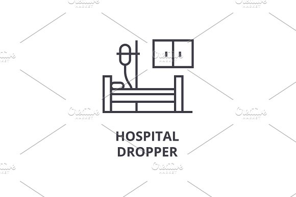 Hospital Dropper Thin Line Icon Sign Symbol Illustation Linear Concept Vector