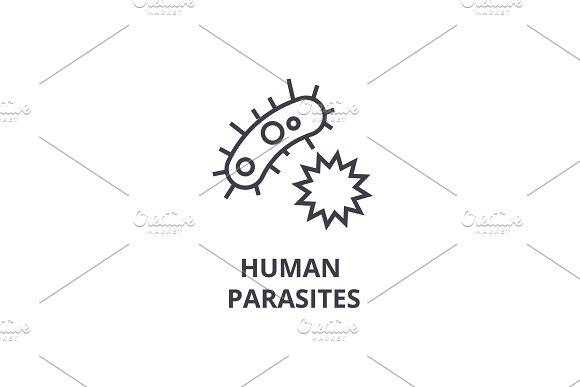 Human Parasites Thin Line Icon Sign Symbol Illustation Linear Concept Vector