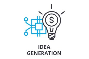 idea generation thin line icon, sign, symbol, illustation, linear concept, vector
