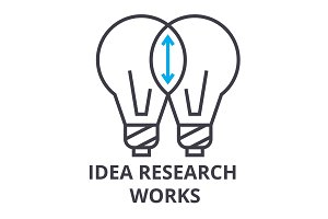idea research works thin line icon, sign, symbol, illustation, linear concept, vector