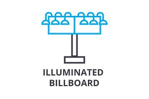 illuminated billboard thin line icon, sign, symbol, illustation, linear concept, vector