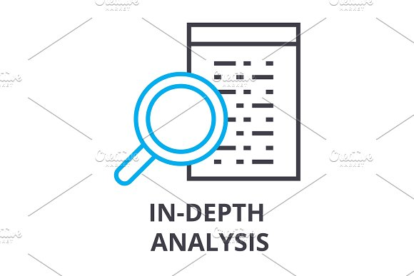 In Depth Analysis Thin Line Icon Sign Symbol Illustation Linear Concept Vector