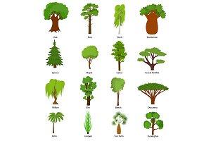 Different Green Tree Set.