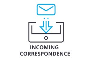 incoming correspondence thin line icon, sign, symbol, illustation, linear concept, vector