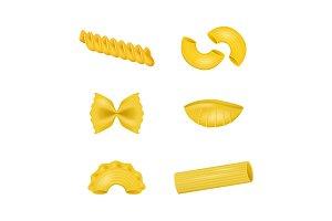 3d Dry Macaroni of Various Pasta
