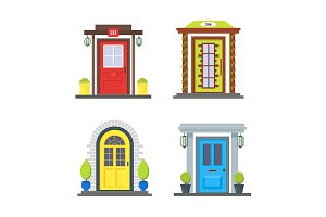 Front Door of House Icon Set