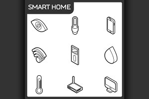 Smart home outline isometric icons