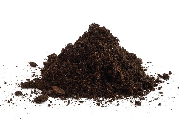 Pile heap of soil isolated on white…