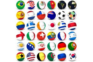 Collection Of Soccer Balls With Flags, Set Of Thirty-six Images 3D Render