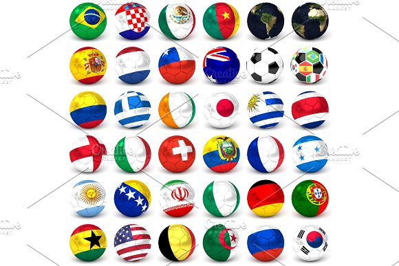 Collection Of Soccer Balls With Flags Set Of Thirty-six Images 3D Render