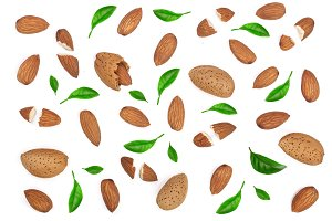 almonds decorated with leaves isolated on white background. Flat lay pattern. Top view