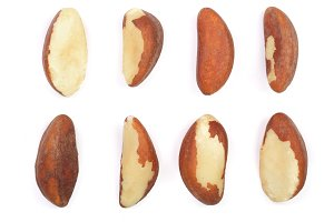 Brazil nuts isolated on white background closeup. Top view. Flat lay