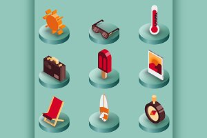 Summer color isometric icons