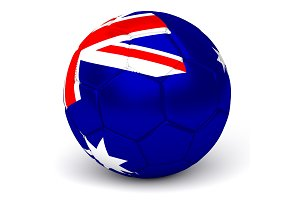 Soccer Ball With Australian Flag 3D Render