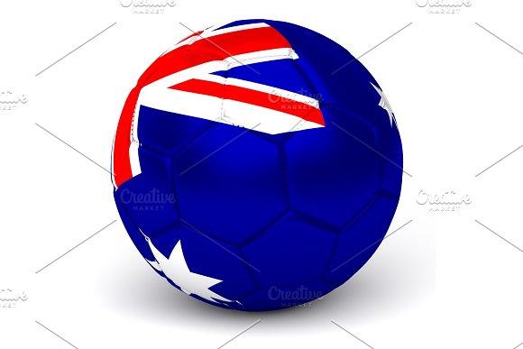 Soccer Ball With Australian Flag 3D Render