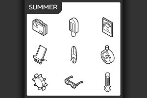Summer outline isometric icons