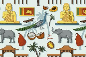Symbols of Sri Lanka icons pattern