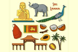 Symbols of Sri Lanka icons set