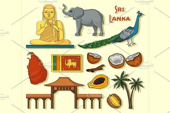 Symbols Of Sri Lanka Icons Set