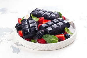 Trendy black charcoal ice cream popsicles