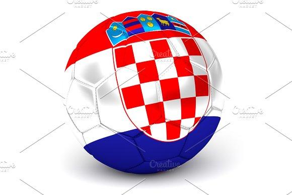 Soccer Ball With Croatian Flag 3D Render