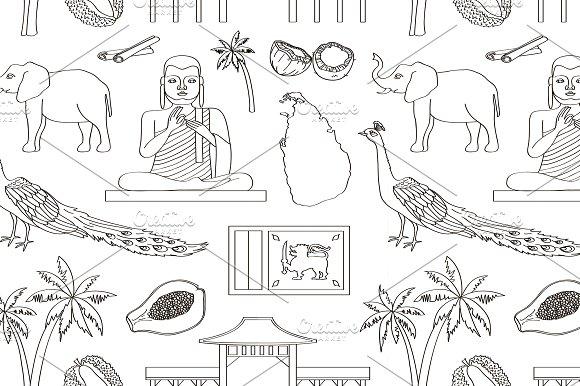 Symbols Of Sri Lanka Icons Pattern