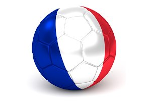 Soccer Ball With French Flag 3D Render