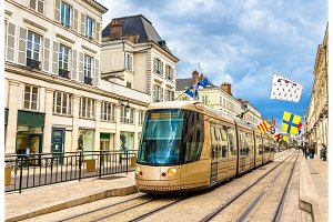 Tram on Jeanne d'Arc street in Orleans - France